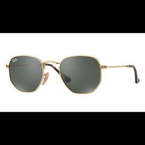 New RayBan Hexagonal Gold Hexagon Sunglasses Round